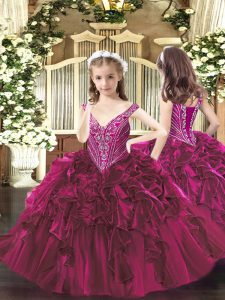 Exquisite Sleeveless Beading and Ruffles Lace Up Flower Girl Dresses