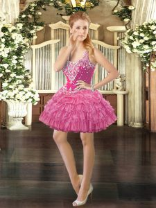Low Price Rose Pink Sleeveless Beading and Ruffled Layers and Pick Ups Mini Length Winning Pageant Gowns