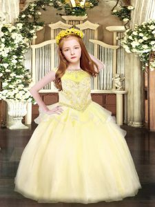 Floor Length Zipper Pageant Dress Womens Light Yellow for Party and Quinceanera with Beading