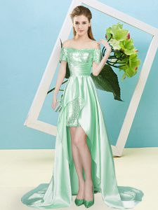 Chic High Low Apple Green Pageant Dress for Womens Off The Shoulder Short Sleeves Lace Up