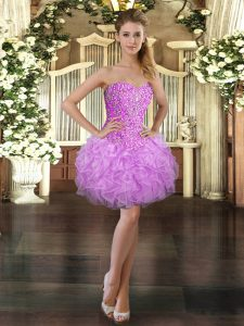 Latest Lilac Sweetheart Lace Up Beading and Ruffles Pageant Dress for Girls Sleeveless