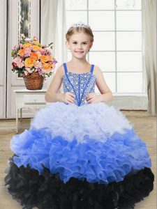 Sleeveless Floor Length Beading and Ruffles Lace Up Little Girl Pageant Dress with Multi-color