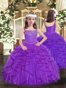 Purple Lace Up Straps Beading and Ruffles Winning Pageant Gowns Tulle Sleeveless