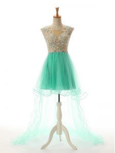 Smart Apple Green Scoop Neckline Appliques Pageant Dress for Teens Sleeveless Backless