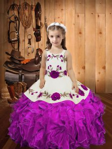 Simple Fuchsia Lace Up Straps Embroidery and Ruffles and Hand Made Flower Pageant Dresses Organza Sleeveless
