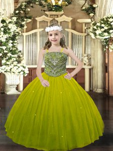 Floor Length Lace Up Little Girls Pageant Dress Wholesale Olive Green for Party and Quinceanera with Beading