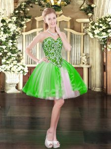 Sleeveless Mini Length Beading Lace Up High School Pageant Dress with