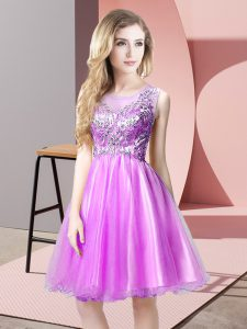 A-line Evening Gowns Lilac Scoop Tulle Sleeveless Knee Length Zipper