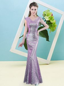 Sequined V-neck Cap Sleeves Zipper Sequins Pageant Dress Toddler in Lilac