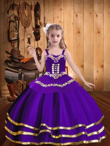 Floor Length Purple Girls Pageant Dresses Organza Sleeveless Embroidery and Ruffled Layers