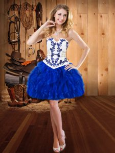 Mini Length Royal Blue Pageant Dress for Girls Strapless Sleeveless Lace Up