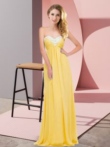 High Quality Chiffon Sweetheart Sleeveless Lace Up Ruching High School Pageant Dress in Gold