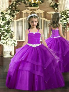 Purple Tulle Lace Up Winning Pageant Gowns Sleeveless Floor Length Appliques and Ruffled Layers
