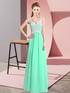 Amazing Apple Green V-neck Zipper Lace Pageant Dress Wholesale Sleeveless