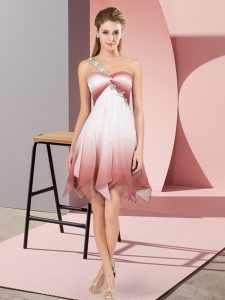Multi-color Lace Up One Shoulder Beading Winning Pageant Gowns Fading Color Sleeveless