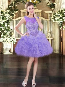 Lavender Ball Gowns Beading and Ruffles and Pick Ups Pageant Dress Toddler Lace Up Organza Sleeveless Mini Length