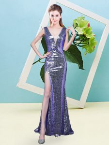 Floor Length Lavender High School Pageant Dress Sequined Sleeveless Sequins