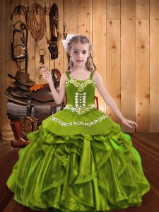 Fashionable Olive Green Sleeveless Organza Lace Up Toddler Flower Girl Dress for Sweet 16 and Quinceanera and Wedding Party