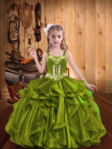 Great Olive Green Sleeveless Floor Length Embroidery and Ruffles Lace Up Pageant Dress for Teens