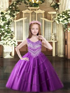 Low Price Tulle Sleeveless Floor Length Little Girls Pageant Dress Wholesale and Beading