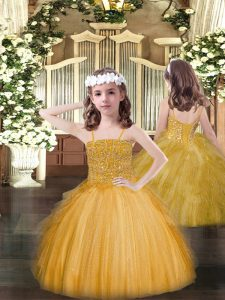 Eye-catching Ball Gowns Pageant Dresses Gold Spaghetti Straps Tulle Sleeveless Floor Length Lace Up