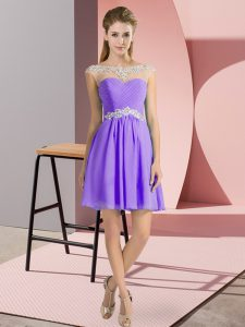 Chiffon Scoop Cap Sleeves Lace Up Beading Pageant Dress Womens in Lavender