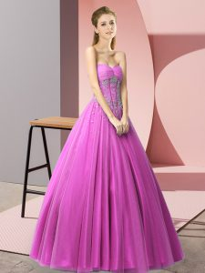 Nice Sweetheart Sleeveless Pageant Dress Toddler Floor Length Beading Lilac Tulle