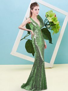 Sleeveless Sequined Floor Length Zipper Pageant Dresses in Green with Sequins