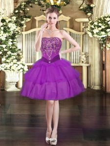 Mini Length Purple Pageant Dress for Teens Strapless Sleeveless Lace Up