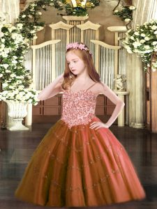 Spaghetti Straps Sleeveless Lace Up Pageant Dress Rust Red Tulle