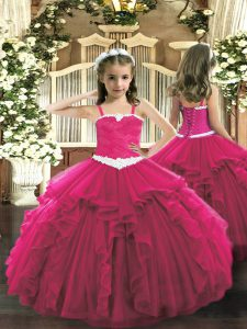 Appliques and Ruffles Kids Pageant Dress Hot Pink Lace Up Sleeveless Floor Length