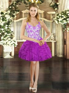 Fuchsia Sleeveless Tulle Lace Up Pageant Dress Wholesale for Prom and Party