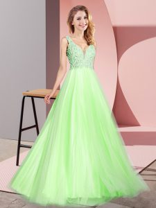 Clearance Yellow Green A-line Lace Pageant Dress for Girls Zipper Tulle Sleeveless Floor Length