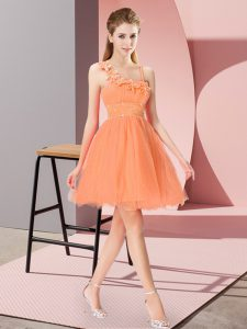 Sweet Orange Red Sleeveless Organza Zipper Pageant Dress for Teens for Prom and Party