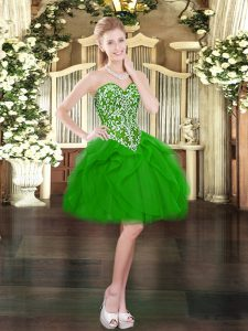 Custom Fit Green Tulle Lace Up Pageant Dress Toddler Sleeveless Mini Length Beading and Ruffles