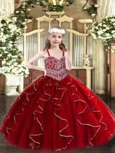 Custom Made Floor Length Lace Up Little Girls Pageant Dress Wine Red for Party and Quinceanera with Beading and Ruffles