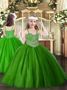 Green Straps Lace Up Beading Winning Pageant Gowns Sleeveless