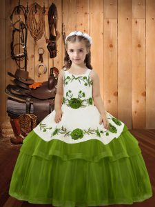 Admirable Olive Green Sleeveless Floor Length Embroidery and Ruffled Layers Lace Up Pageant Gowns For Girls