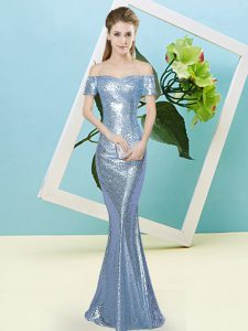 Graceful Sequined Off The Shoulder Short Sleeves Zipper Sequins Winning Pageant Gowns in Baby Blue