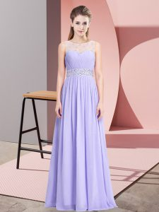 Sweet Lavender Sleeveless Floor Length Beading Lace Up Pageant Dress for Girls