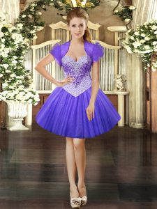 Cute Lavender Tulle Lace Up Sweetheart Sleeveless Mini Length Winning Pageant Gowns Beading