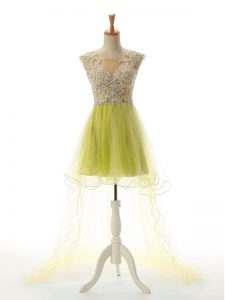 Sweet High Low Yellow Green Pageant Dress Wholesale Tulle Sleeveless Appliques