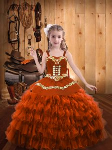 Gorgeous Rust Red Ball Gowns Embroidery and Ruffled Layers Pageant Dresses Lace Up Organza Sleeveless Floor Length