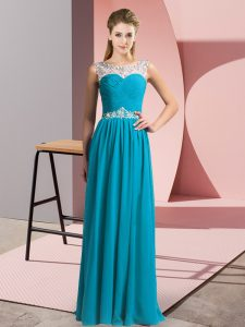 Attractive Teal Sleeveless Floor Length Beading Clasp Handle Pageant Dress Wholesale