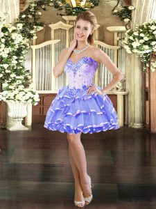 Lavender Sleeveless Organza Lace Up Winning Pageant Gowns for Prom and Party