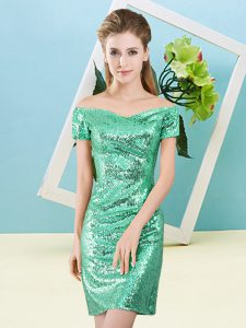 Best Selling Off The Shoulder Short Sleeves Zipper Pageant Dress for Teens Turquoise Sequined