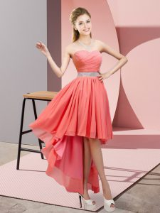 Customized Watermelon Red A-line Chiffon Sweetheart Sleeveless Beading High Low Lace Up Pageant Dress Toddler
