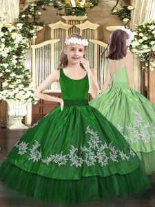 Simple Floor Length Zipper Pageant Dress for Womens Dark Green for Party and Quinceanera with Beading and Appliques