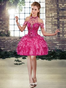 Glittering Sleeveless Beading and Ruffles Lace Up High School Pageant Dress
