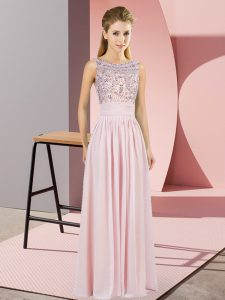 Pink Chiffon Backless Scoop Sleeveless Floor Length Winning Pageant Gowns Beading